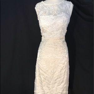NWT Sue Wong White Lace Knee Length Dress 12